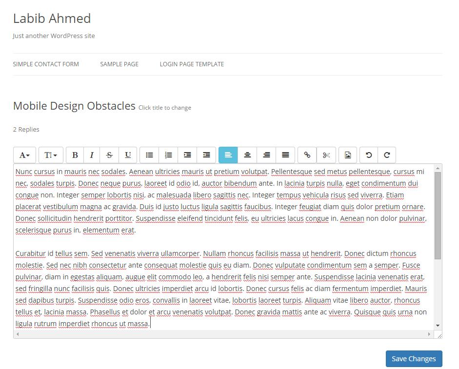 WP Quick Frontend Editor - WebDevOcean